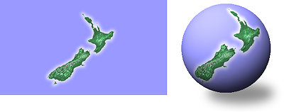 Nzg small world a cylindrical map of new zealand left wrapped on a sphere right gumiabroncs Image collections
