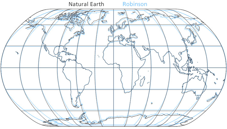natural earth compared to select world map projections