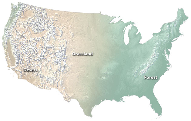 The Cross Blended Hypsometric Tints On This Physical Map Of The U S Depict Desert Forest And Transitional Grassland Environments More Naturally Than