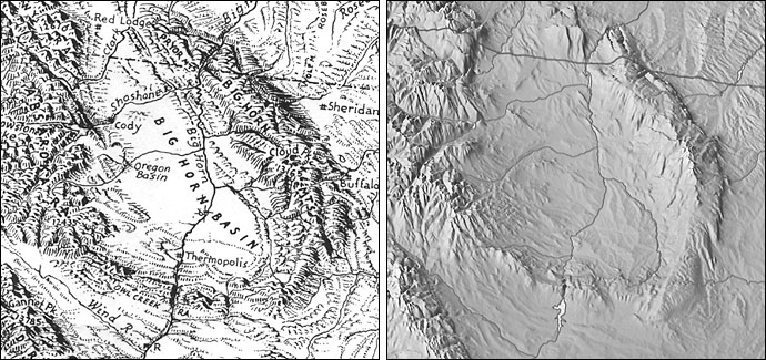 Bighorn Basin Wyoming Drawn By Erwin Raisz Left And The Same Area Rendered As Plan Oblique Relief From Shuttle Radar Topography Mission Data Right