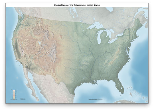 US physical map download