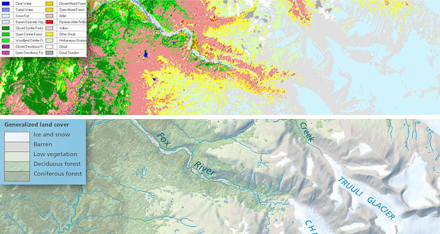 Top Detailed Land Cover Generated In Erdas From Spot And Landsat Satellite Images Bottom The Same Land Cover Reduced From 18 To 5