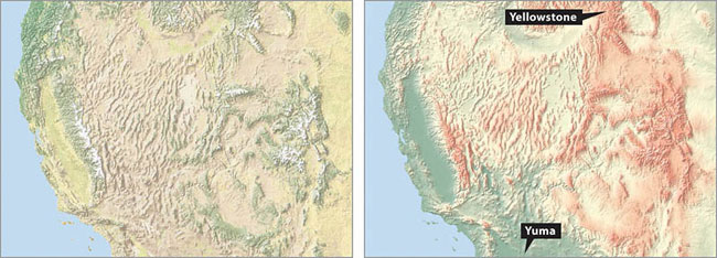 Left A Shaded Relief Map Of Southwestern United States Combined With Natural Colors Right The Same Map With Blended Hypsometric Tints