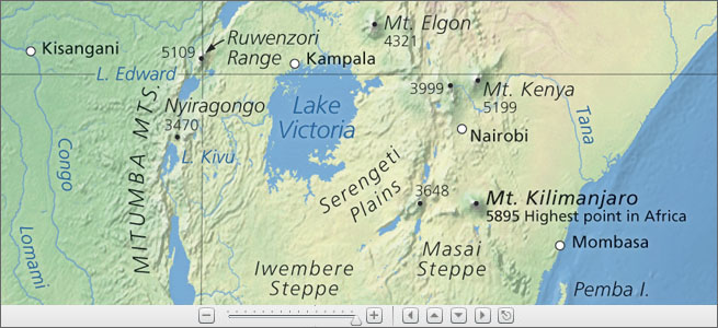 Mt Kilimanjaro On World Map.Physical Map Of The World